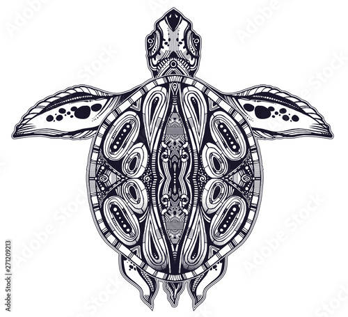 Fotografie, Tablou  Ornate tribal sea turtle in indigenous Polynesian style.