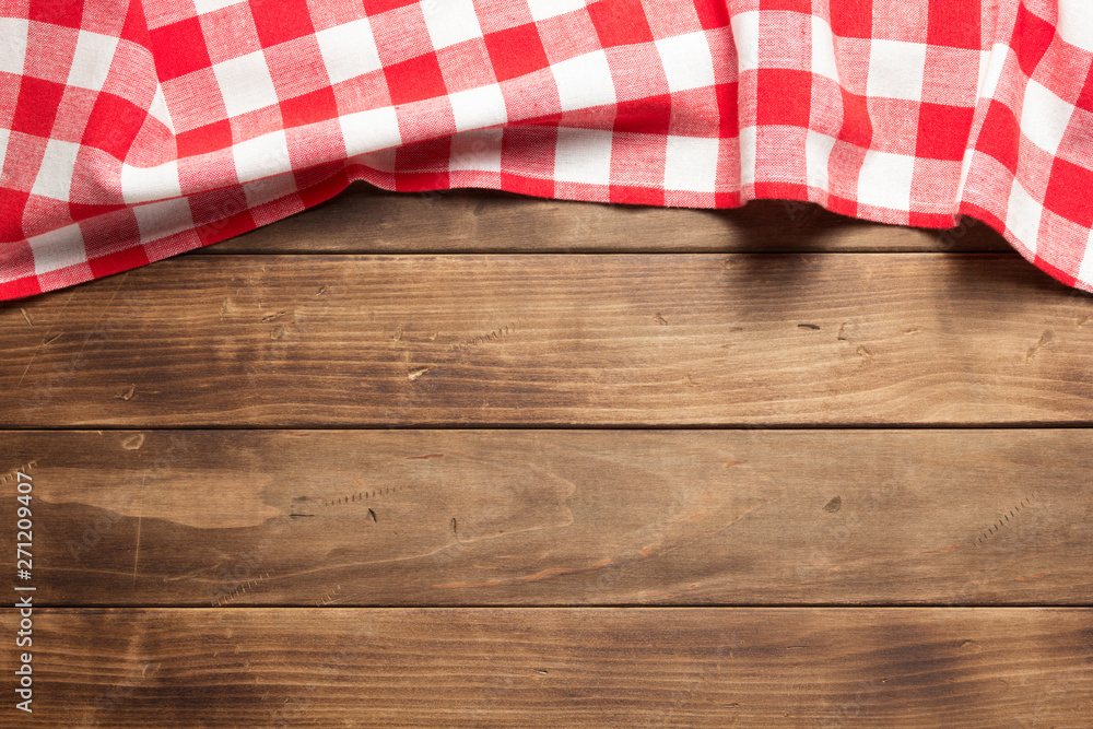 Fototapety, obrazy: cloth napkin on at rustic wooden plank
