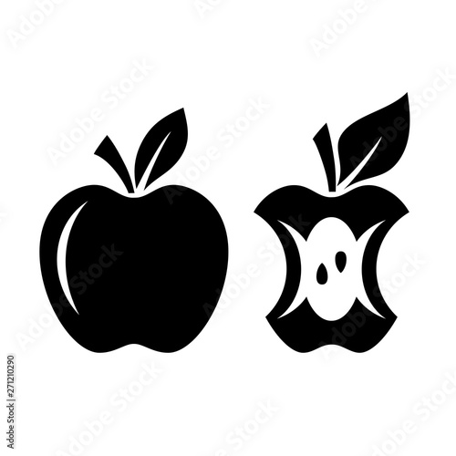 Apple vector silhouette and apple core icon
