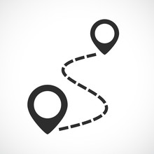 Map Route Vector Pictogram