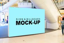 Mock Up Blank Large Billboard Near Escalator In Shopping Mall