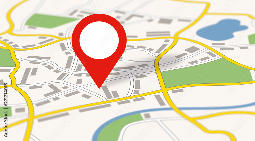 Fototapeta A generic city map with an icon