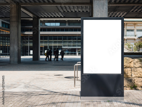 Fotografia, Obraz Mock up Banner Sign stand Media Advertisement outdoor Building with people