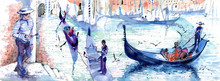 Gondolas And Gondoliers, Venice, Watercolor Sketch