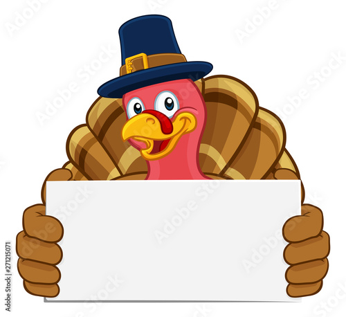 Pilgrim Turkey Thanksgiving bird animal cartoon character wearing a pilgrims hat Slika na platnu
