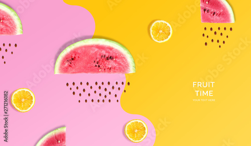 Creative layout made of watermelon, lemon. Flat lay. Food concept. Macro concept. Pink and yellow background. - 271216082