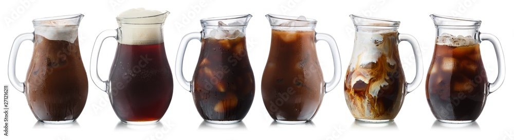 Fototapety, obrazy: Brown drinks jugs, isolated, paths