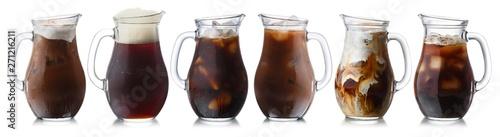 Fototapeta Brown drinks jugs, isolated, paths obraz