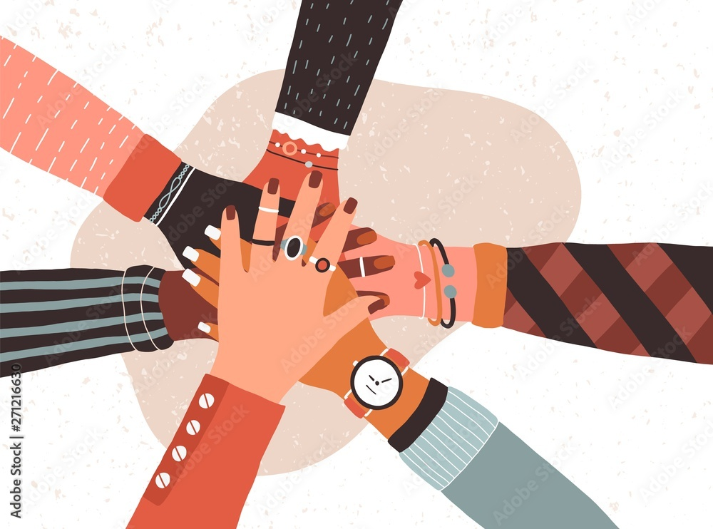 Fototapeta Hands of diverse group of people putting together. Concept of cooperation, unity, togetherness, partnership, agreement, teamwork, social community or movement. Flat cartoon vector illustration.