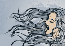 Hand Drawn Vector Illustration. Portrait Of A Young Screaming Woman With Flying Long Hair On A Grunge Background. Comic Style