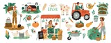 Fototapeta Fototapety na ścianę do pokoju dziecięcego - Local organic production set. Agricultural workers planting and gathering crops, working on tractor, farmer selling fruits and vegetables, farm animals, farmhouse. Flat cartoon vector illustration.