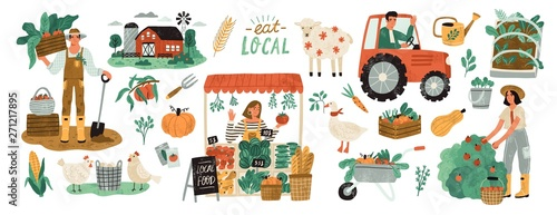Local organic production set Tableau sur Toile