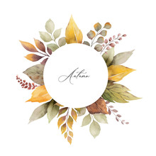 Watercolor Vector Autumn Frame With Leaves And Branches Isolated On White Background.