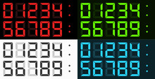 Vector Complete Set Of Led Style Digital Clock Numbers (0-9) In Four Different Color Combinations