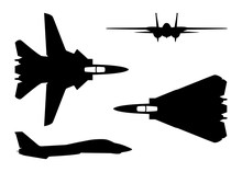 Vector Illustration Silhouette Of The Multirole Aircraft F-14 Tomcat Isolated On White Background