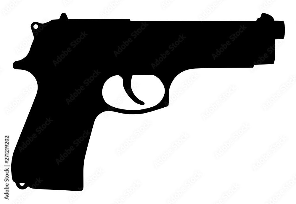 Fototapeta Vector illustration of automatic gun silhouette isolated on white background