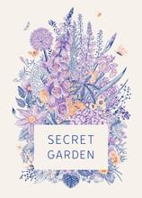 Secret Garden. Flower Frame. Bouquet. Vintage Vector Botanical Illustration. Warmcold. Violet And Orange.