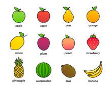 Big Set Of Fruits And Berries. Summer Fruit. Fruit Apple, Pear, Strawberry, Orange, Peach, Plum, Banana, Watermelon, Pineapple, Kiwi, Lemon. Fruits Vector Collection. Vector Illustration.
