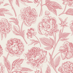 Fototapeta Kwiaty Seamless pattern. Classic peonies. Vector botanical illustration. Coral color