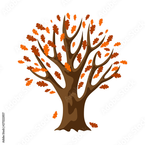 Fototapety, obrazy: Autumn stylized tree with falling leaves.