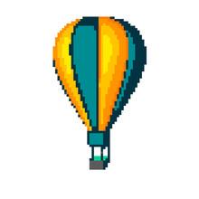 Hot Air Balloon. Isolated On White. Vector Illustration. Pixel Art.