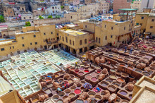 Aerial View Of The Colorful Leather Tanneries Of Fez, Morocco