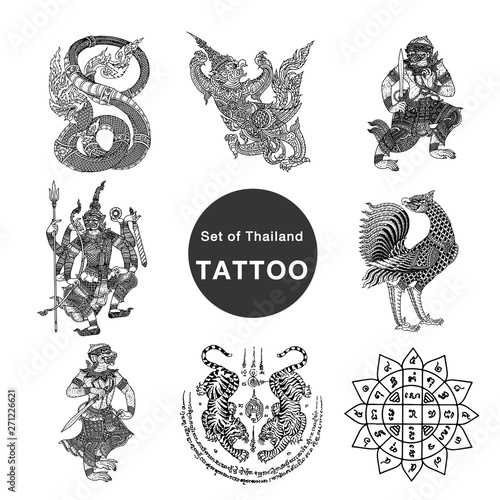 Set Of Thailand Tattoo Buy This Stock Vector And Explore