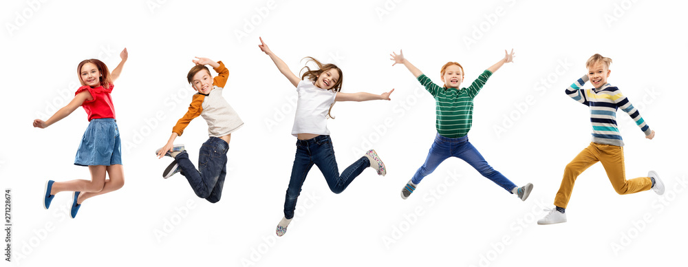Fototapety, obrazy: childhood, fun and motion concept - happy children jumping over white background