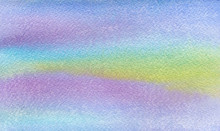 Turquoise Purple Blue Pink And Yellow Watercolor Blurs Hand Drawn Abstract Background On Textured Paper