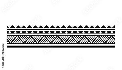 Photo Tattoo tribal maori pattern bracelet, polynesian ornamental  border design seaml