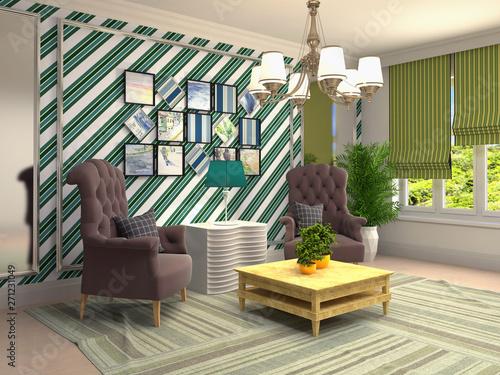 Fototapeta interior with chair. 3d illustration obraz na płótnie