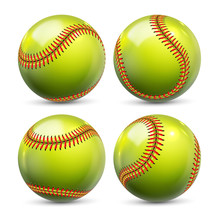 Yellow Softball Equipment Of Baseball Set Vector. Glossy Element Of Team Playing Game Softball. Different View Of Ball With Red Seams For Activity Professional Sport Realistic 3d Illustration
