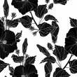 Black hibiscus - flowers and buds. Seamless white background pattern. Wallpaper. Decorative composition. Use printed materials, signs, posters, postcards, packaging.