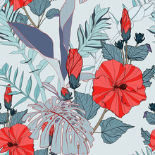 Tropical Seamless Pattern With Blue Leaves And Red Hibiscus Flowers. Flat Jungle Print. Floral Background.