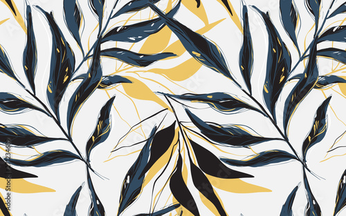 Fotomural  Summer Tropical  pattern, Vector palm tree  banana leaves sketch  drawn with contour lines against white background