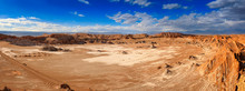Big Panorama Of Valle De La Luna. Atacama Desert. Chile. South America. The Photo Does Not Contain Posterization And Noise. It Is  Clay Dust, Salt And Sand. Main Focus On The Bottom And Center