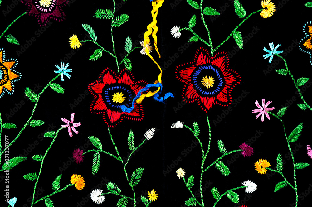 old Ukrainian embroidery in ornaments and patterns embroidered on a canvas