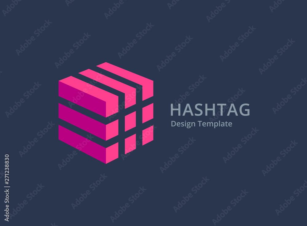 Fototapeta Hashtag symbol logo icon design template elements