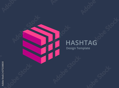 Hashtag symbol logo icon design template elements Tableau sur Toile