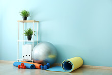 Set Of Sports Equipment With F...