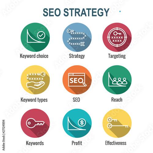 SEO Strategy - Search engine optimization concept - keywords, etc Canvas Print