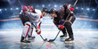 canvas print picture - Hockey players starts game around ice arena