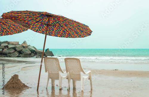 umbrella on a tropical beach in Thailand
