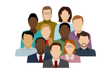 Group Of Different People. Office Team. Vector Illustration.