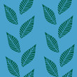 Blue green leaf grass stream seamless pattern