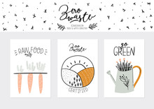 Set Of Weekly Planners And To Do Lists With Zero Waste Illustrations And Trendy Lettering. Template For Agenda, Planners, Check Lists, And Other Kids Stationery. Isolated. Vector