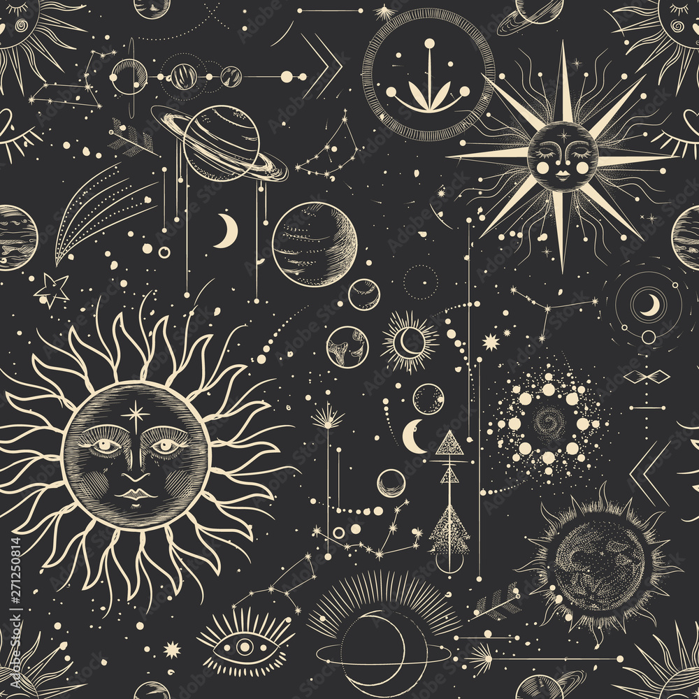 Fototapety, obrazy: Vector illustration set of moon phases. Different stages of moonlight activity in vintage engraving style. Zodiac Signs