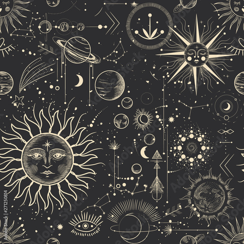 Tapeta czarna  vector-illustration-set-of-moon-phases-different-stages-of-moonlight-activity-in-vintage-engraving-style-zodiac-signs