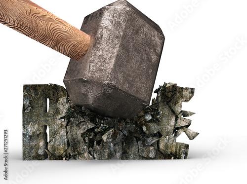 Fotografia, Obraz  Sledgehammer smashing RULE 3d concrete word cracked, isolated on white, 3D illustration