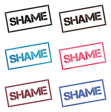 Shame Rectangular Stamp Collection. Textured Seals With Text Isolated On White Backgound. Stamps In Turquoise, Red, Blue, Black And Sepia Colors. Colourful Watercolor Style Vector Illustration.